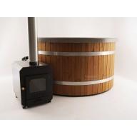 Hottub exclusive 180cm Ø, kunststof met houten bekleding, vrijstaand, externe kachel,