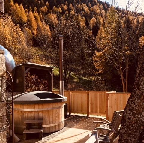 hottub externe kachel hout gestookt
